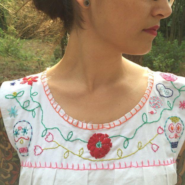 How to make a Mexican dress, how to make an embroided dress, diy / Hoe maak je zelf een Mexicaans jurkje, geborduurd jurkje, zelf maken // VAN BRITT