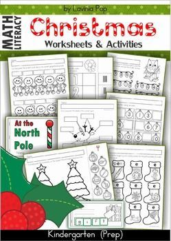 Christmas Math & Literacy Worksheets & Activities for Kindergarten. Lots of fun, interactive, no-prep pages for December.