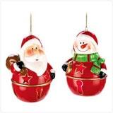 Adorable Santa and Snowman Ornaments