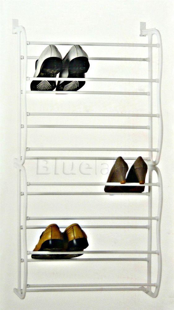24 Pairs 8 Tier Over Door Hanging Shoe Rack Holder Organiser Storage Space Saver