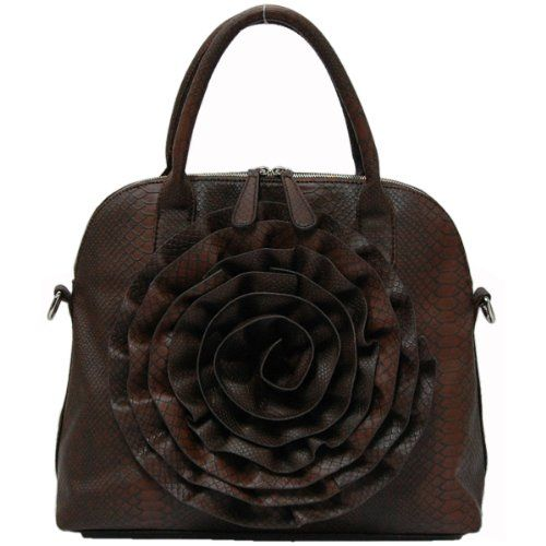 Rose Handbag (Rosette Purse) - Colors Available: Fash Fashion, Rose Handbags, Dark Brown, Body Handbags, Brown Rose, Brown Purses, Handbags Feveria, Handbags Rosette, Hands Bags