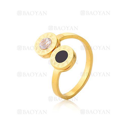 anillo con numero romano de moda en acero de dorado-SSRGG801993