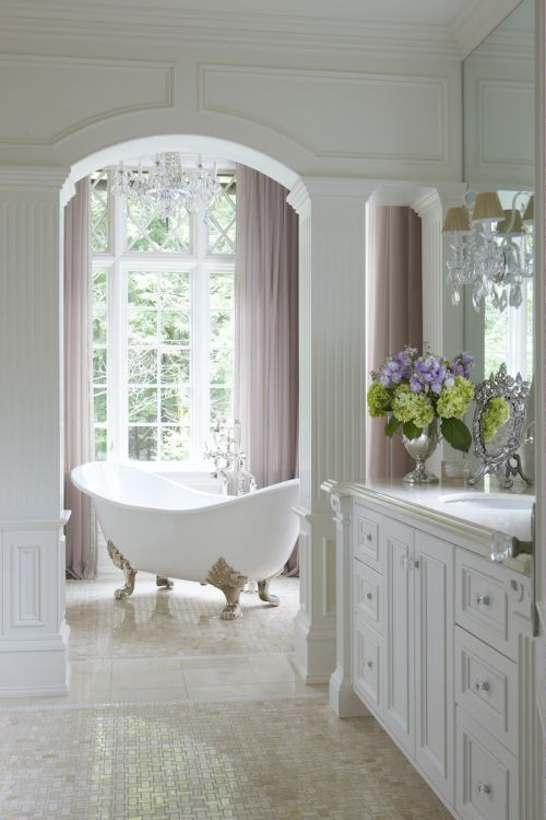 Dreamy bath styled by StacyStyle, designed by Anthony Como, shot by Michael Partenio for Beautiful Kitchens & Baths magazine.
