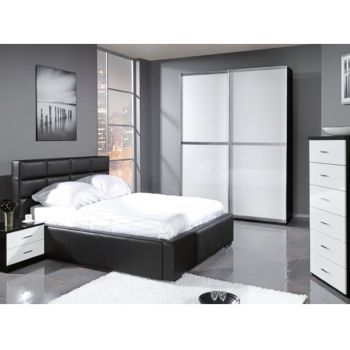 Set Dormitor Panama complet negru si alb Extravagant, deosebit, unic dormitorul Panama transforma orice incapere si impune un stil dinamic si ultramodern.