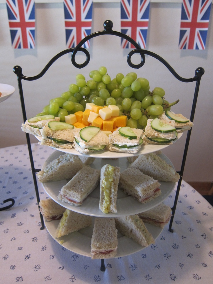 English Tea Party (cucumber & cream cheese, egg salad, turkey with cream cheese & strawberry jam sandwiches along with grapes & assorted cheeses)
