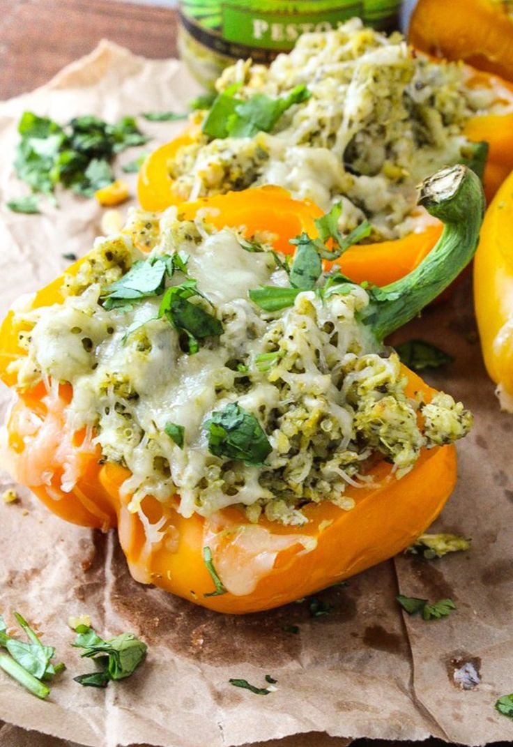 9. Pesto Chicken Stuffed Peppers #healthy #dinner #recipes http://greatist.com/eat/healthy-weeknight-recipes