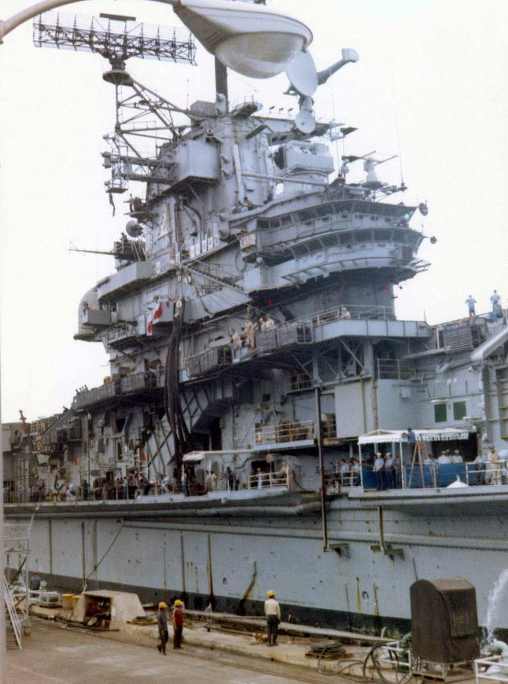 USS Oriskany  CVA 34 Aircraft Carrier Coming Into Port At Subic Bay Naval Base In The Philippines. 1973. Photo By Bill Wolverton