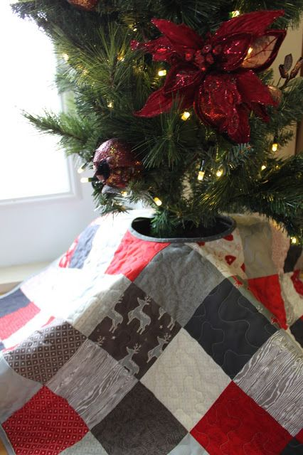 Quilted Christmas Tree Skirt Scandinavian And Nordic Inspired Modern Decor Red White Grey Patchwork By DaydreamsOfQuilts On Etsy