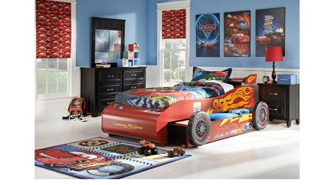 Disney Cars Disney Disney Cars Lightning Mcqueen Black 8 Pc Bedroom 3421470p Cars Bedroom Set Car Bedroom Bedroom Sets