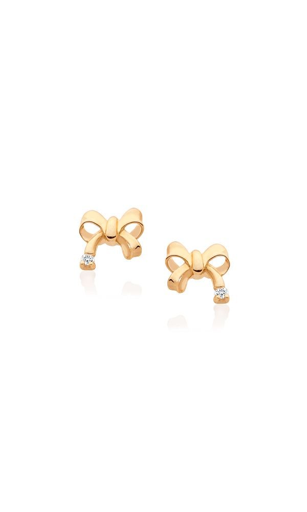 14K Gold Bow Shaped Earrings for Baby or Child. Safety Screw-Backs.