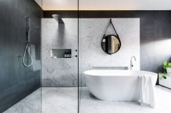 Marble bathroom in the Sydney beachfront suburb of Coogee by Minosa Design. Picture by Nicole England.