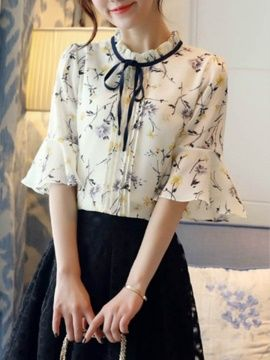 Floral Print Lace-Up Bowknot Bell Sleeve Blouse