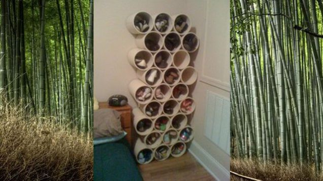 If you're looking for an inexpensive way to store your shoes that has a unique look consider making this PVC shoe rack. All you need to do is buy 4-in or 6-in diameter PVC pipe and cut it into lengths of 1.5 feet.