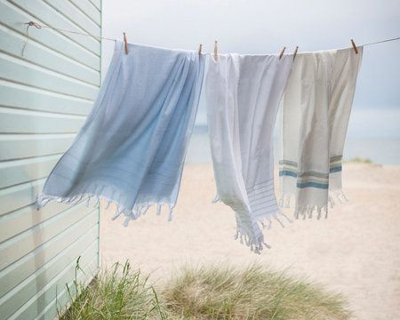 Pale Blue Hammam Towel With Towelling Reverse Beach
