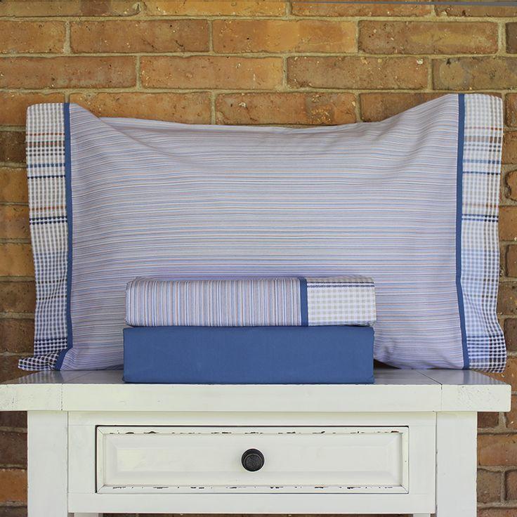 Juego de sábanas de 200 hilos - Colección Juvenil - Diseño Rayitas y Cuadros Azul Marrón