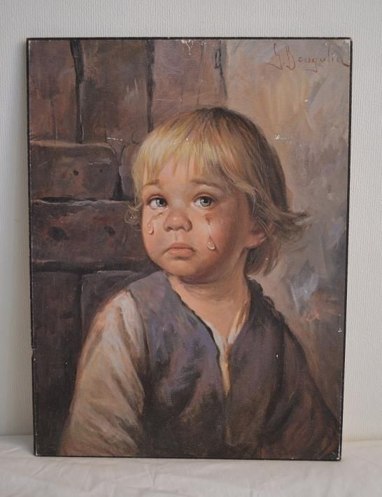 Gråtende barn retro kitch bilde