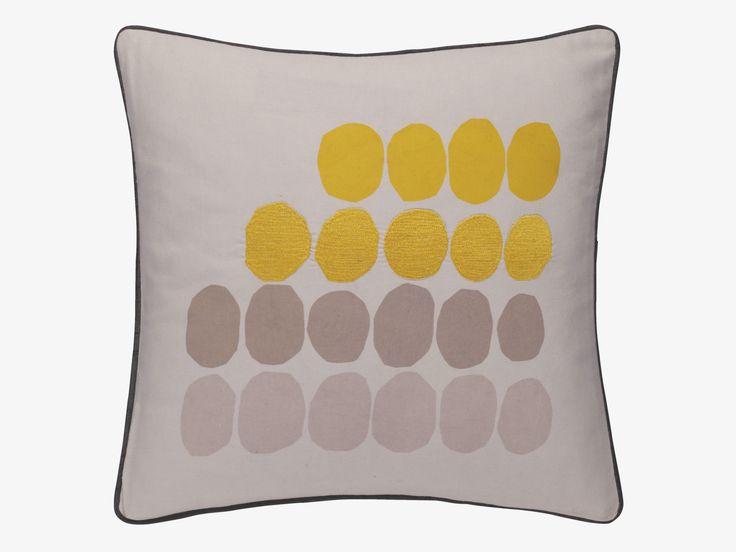 MILA YELLOWS Fabric 45 x 45cm grey and yellow embroidered cushion - Cushions and rugs- HabitatUK