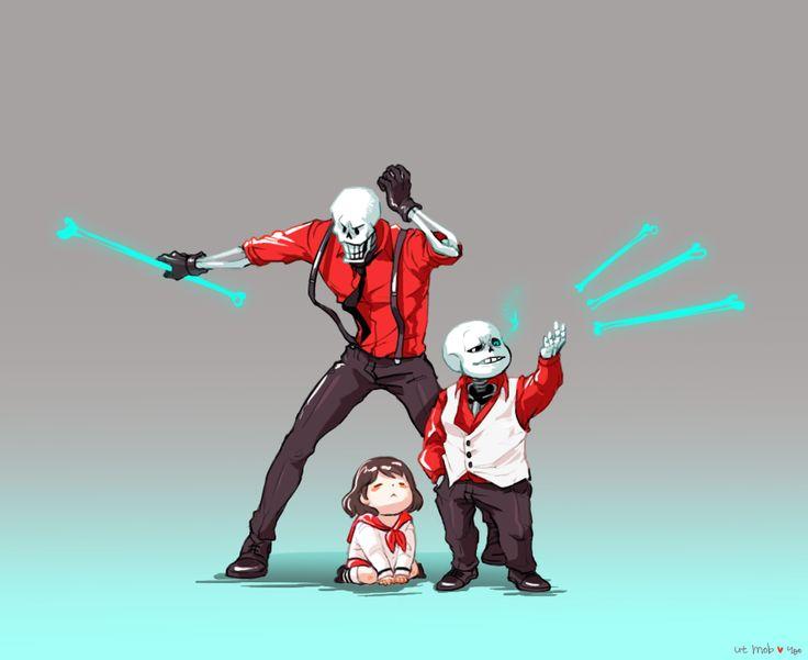 Papyrus, Frisk, and Sans - MobsterUT AU