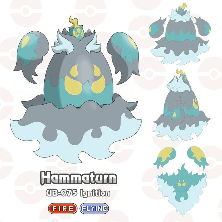"""UB-075 Ignition HAMMATURN type: Fire/Flying Classification: Purifying Fire Pokémon The Northeast of Avanna suffered for years with low harvests, because poor soil did not allow plantations to develop. The farmers did not know what to do, more than half of their crops were lost every year. A """"disaster"""" happening, completely changing people's lives. The largest peasant city of this region, Acara Town, was the scene of the first appearance of Hammaturn. On a sunny day, strong wind currents…"""