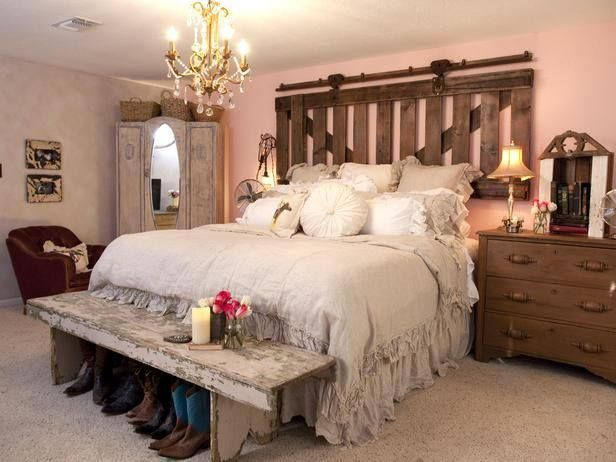 Master Bedroom. Love the headboard. Not the color of the walls (Serene green). Maybe a antler chandler or wooden fan.