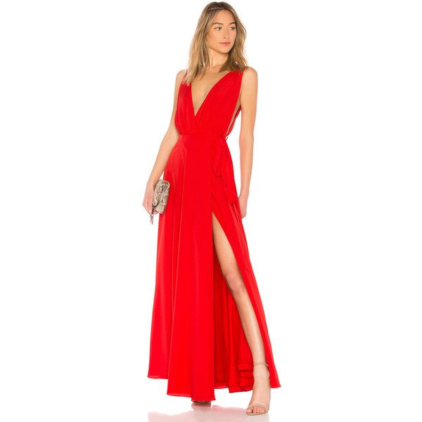 Lovers + Friends Leah Gown (4,715 HNL) ❤ liked on Polyvore featuring dresses, gowns, red gown, wrap front dress, red evening gowns, lovers friends dresses and red dresses