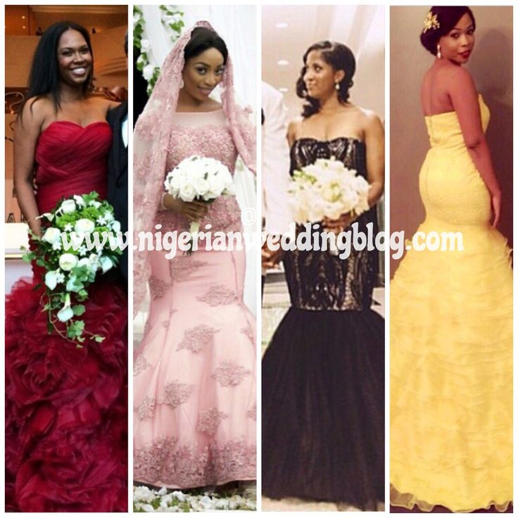 Nigerian Wedding Yellow Red Pink And Black Colored Dress