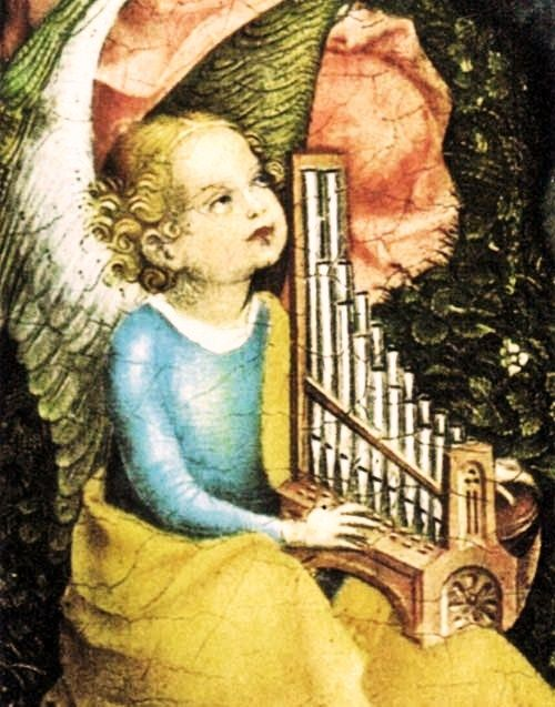 Stefan Lochner (1442-1451) Detail of angel playing an organ from the painting The Virgin of the Rose Bush c 1430.