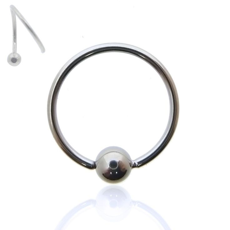 Piercing anneau en acier chirurgical à écarter, avec boule fixe. Très simple à poser au nez, au cartilage ou au tragus.