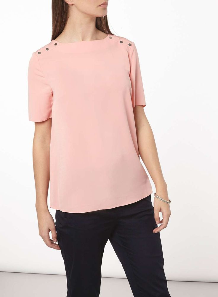 Womens **Tall Blush Buttoned T-Shirt- Pink
