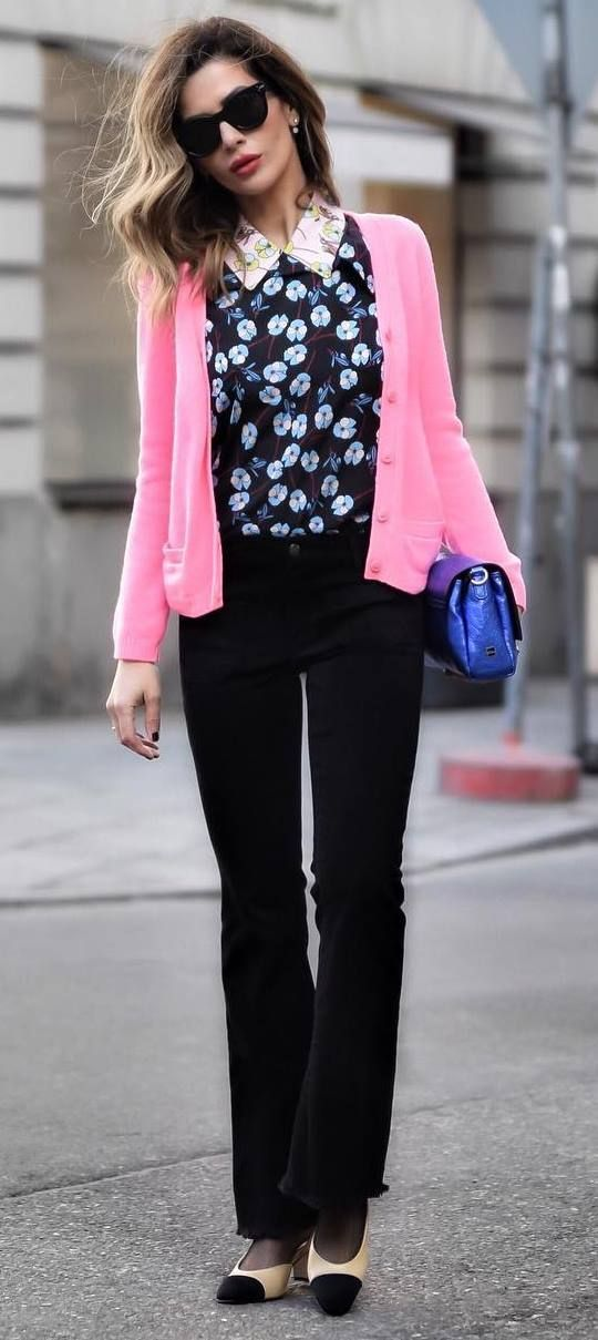 pretty cool office style : pink cardi + top + pants + bag