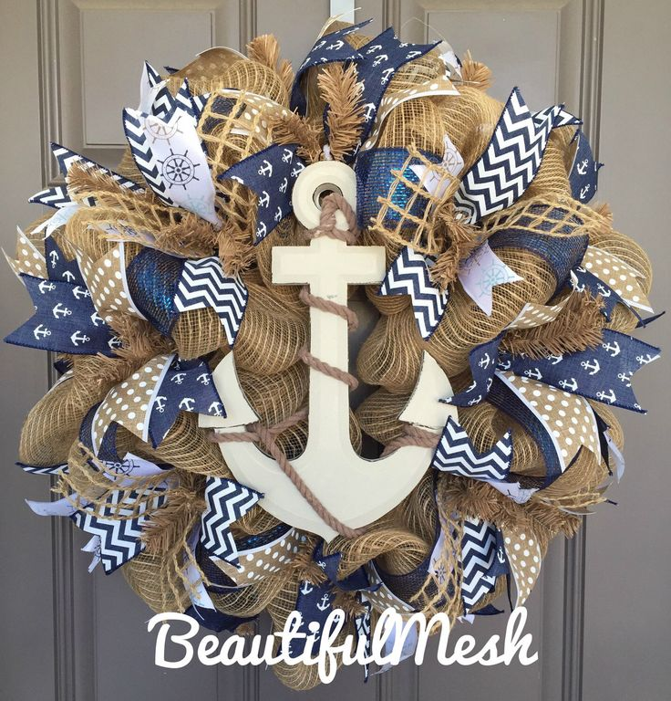 A personal favorite from my Etsy shop https://www.etsy.com/listing/226746458/anchor-nautical-burlapdeco-mesh-wreath