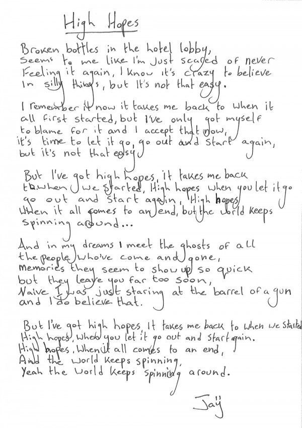 High Hopes - Kodaline #lyrics #handwrittenlyrics  #digitalscrapbook  http://www.kodaline.com/scrapbook