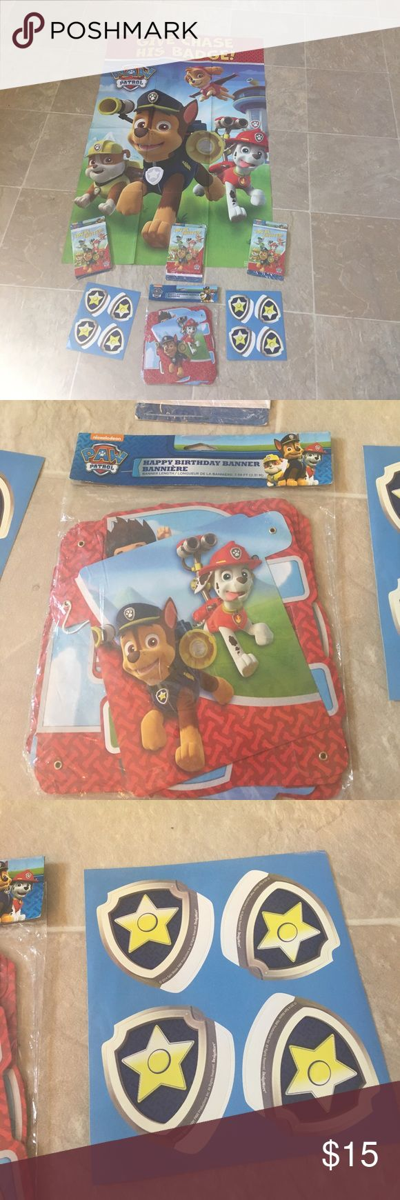 Paw patrol Birthday Bundle 🎉 New Condition- brand new  Size - one size game Color- red blue and yellow Style- paw patrol banner / game / invites & Thank you cards  Brand- nick Jr Smoke free pet free home!! Ships within 2 business days!  Bundle with 2 or more listings and save 25% through march.     All included - Paw patrol pin the badge on chase game with 8 stickers , 23 birthday invitations that come with thank you cards and envelopes, and happy birthday banner Nickelodeon Accessories