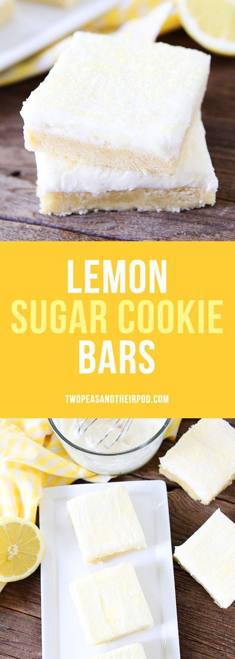 Lemon Sugar Cookie Bars with Cream Cheese Frosting are a family favorite dessert. You don't have to roll out the sugar cookies, the cookies are made in one big pan. The perfect dessert for parties and potlucks.