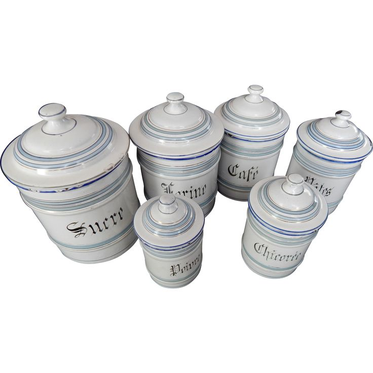 Vintage French Canisters Set of 6 Chippy Enamelware w/ Duck Egg Blue Decoration
