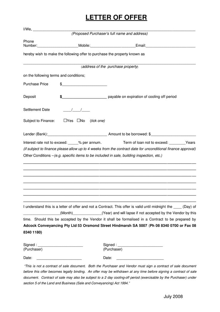 Formal Property Offer Letter How to write a Formal