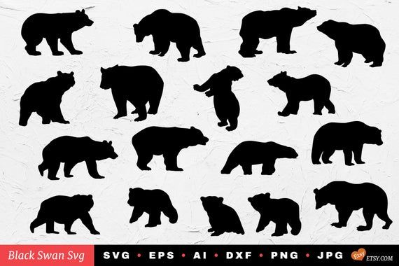 Bear Silhouettes Eps Svg Dxf Png Jpg Ai Pdf Vector File Zip File For Instant Download Diy Design Bear Silhouette Silhouette Vector Tribal Bear
