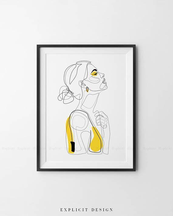 Abstract Line Illustration, Minimal Face Line Drawing, Printable Yellow Fashion Sketch, Drawn Female Portrait, Minimalist Woman Art