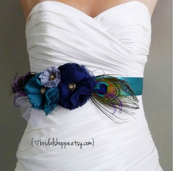 Peacock belt, Peacock Sash, Wedding Sash, Bridesmaids Sash.  This has all the colors of the ocean (navy blue, grey, teal) and peacock feathers to boot.  Gorgeous and peacock inspired for a peacock themed wedding.