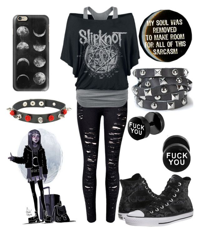 Sarcastic Emo B!tch by the-uninportant-emo on Polyvore featuring polyvore fashion style WithChic Converse Presh Casetify clothing emo