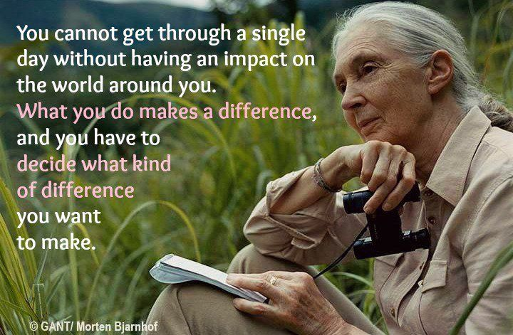 You cannot go through a single day without making an impact on the world around you.  What you do makes a difference, and you have to decide what kind of difference you want to make.