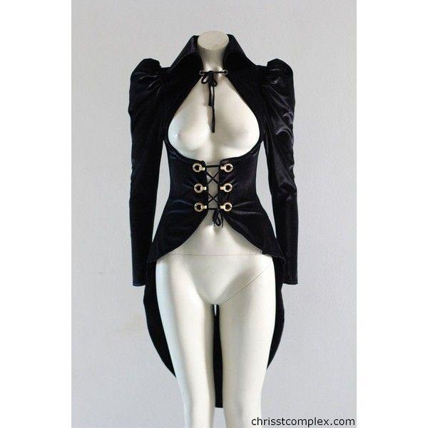 Steampunk Velvet Vest Goth Gothic Jacket Custom Chrisst Riding Jacket... ❤ liked on Polyvore featuring outerwear, jackets, velvet gothic jacket, steam punk jacket, goth jacket, gothic jackets and steampunk jacket