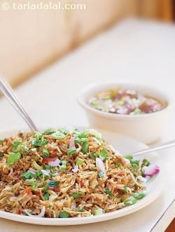No chinese meal is complete without fried rice or steamed rice. To keep the rice grains separate, spread the cooked rice grains on a tray and allow it to cool. Rub a little oil on the cooked rice and keep aside till you require it.