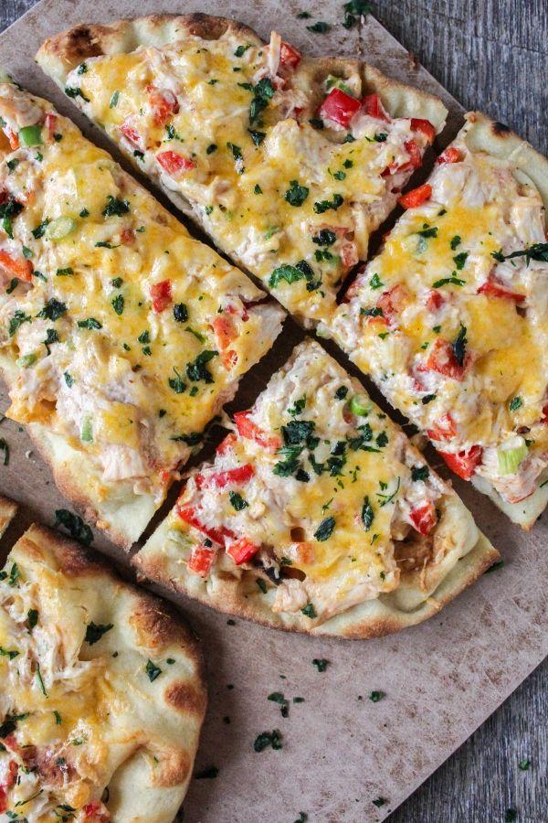 Red Chile Chicken Flatbread Pizzas | The Chef Next Door #ad #KingOfFlavor #FieldToBottle