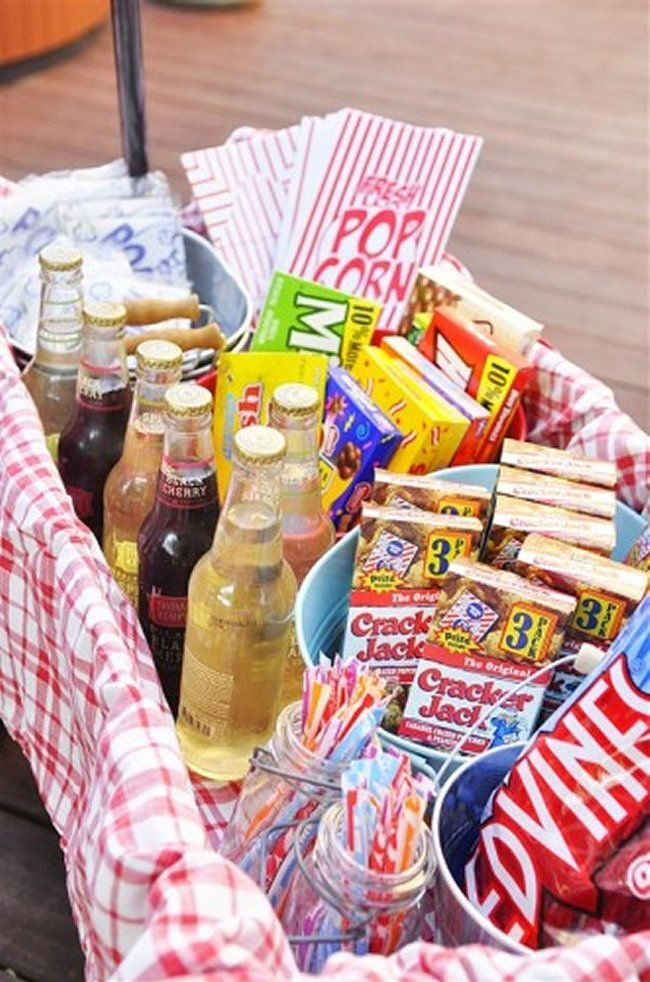 Treat wagon for an outdoor movie night!