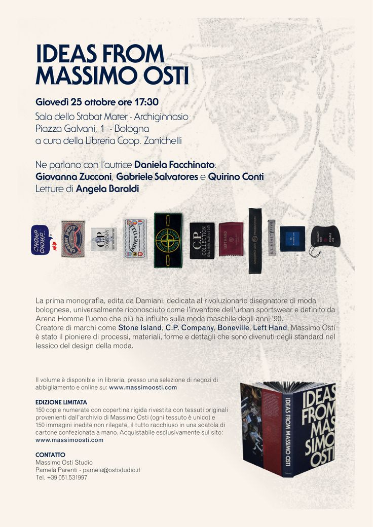 """Invitation to the presentation of the book """"Ideas from Massimo Osti"""", October 25, 2012, in Bologna, created by the study Massimo Osti."""