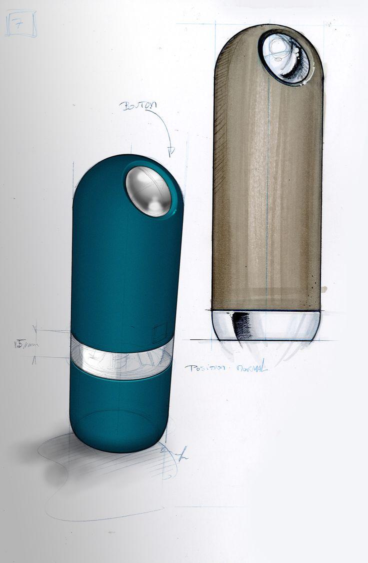 Sketch of electric salt and pepper mills ALASKA,  by http://www.nicolasbrouillac-designer.fr/