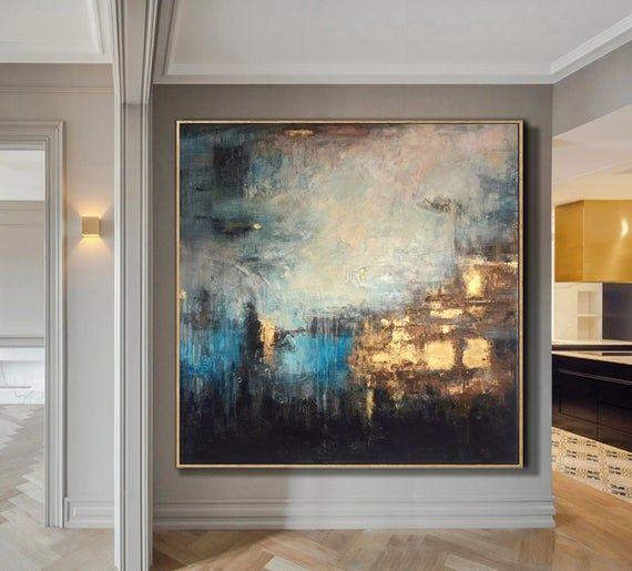 Abstrakte Malerei große Gold Malerei blau abstrakte Kunst Blatt Malerei Malerei Leinwand zeitgenössische Kunst Wandmalerei für Wohnzimmer