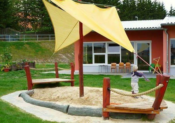 Spielzeugpiratenschiff Fur Die Kleinen Mit Sandkasten Kinder Sandkasten Garten Hintergarten Hinterhof Spielplatz