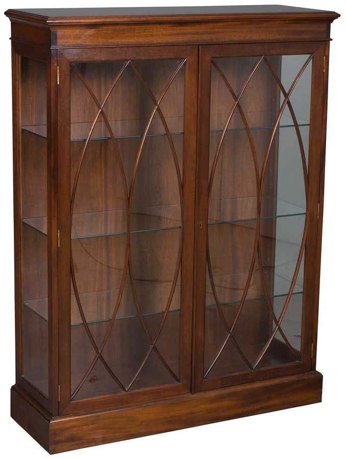 Antique English Mahogany Bookcase Glass Doors Adjustable